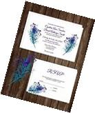 Wedding Invitations Peacock Feathers 50 Invitations & RSVP