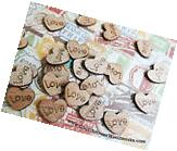500 little wooden love heart rustic wedding table confetti,