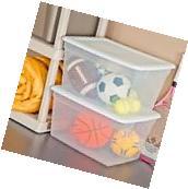 Sterilite 58 Quart Storage Box White Case of 8 Organizer