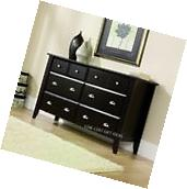 6 Drawer Dresser Brown Wood Low Chest Of Drawers Bedroom