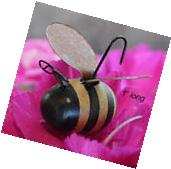 6 Wood Bumble Bee Ornaments with Rusty Wings