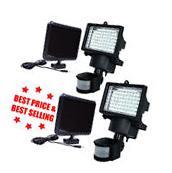 2PACK 60 LEDs Outdoor Garden Solar Motion Sensor Security