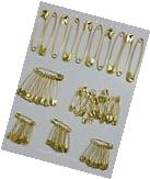 "70 Safety Pins Gold Tone Assorted Sizes 2"", 1-1/2"". 1-1/4"","