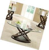 Coaster 702788 Glass Top Round Coffee Table in Espresso NEW