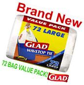 72 Glad 10 Gallon Large Wavetop Tie Trash Bags,Value Pack