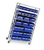 New 8 Shelf 24 bin Rolling Storage Shelving Rack Commercial