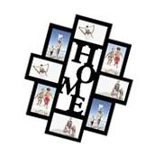 """Adeco 8-Opening 4x6"""" Black Wood """"Home"""" Wall Hanging Collage"""