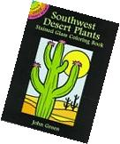 Southwest Desert Plants Stained Glass Coloring Book