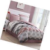 FULL Size 8 PC Bed In A Bag Set Pink Beige Comforter Sheets