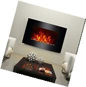 """35"""" Large 750/1500W Adjustable Electric Fireplace Wall Mount"""