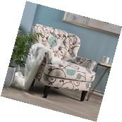 Alfred White and Blue Floral Fabric Upholstered Club Chair w