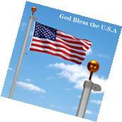 20ft Aluminum Sectional Flagpole Kit Free US American Flag