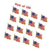 Lot of 100 American Flag Lapel Pin United States USA Hat Tie