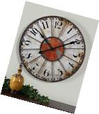 "NEW 29"" ANTIQUED IVORY RED ROUND LARGE NUMBERS WALL CLOCK"