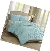 3 pc Aqua Blue Comforter Set Full/Queen Size Pintuck Bedding