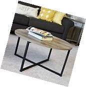 Household Essentials Ash wood Round Coffee Table Grey Modern