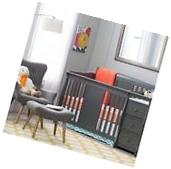 Baby Crib Changing Table Set Gray Infant Nursery Furniture