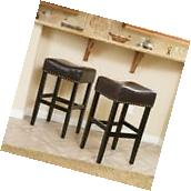 Set of 2 Backless Brown Leather Counter Height Stools w/