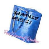 Lot of 2 IKEA BAGS Frakta Medium Blue Bag Shopping Grocery