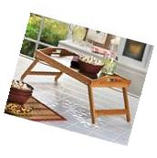 Bamboo Folding Serving Tray Versatile Bed Kitchen Wood