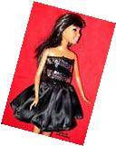 BARBIE DOLL CLOTHES BLACK AND SILVER PARTY DRESS -HANDMADE