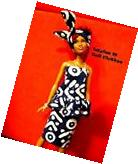 Barbie Doll Clothes - African Blue Print Skirt, top, headtie