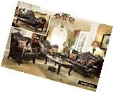 Barcelona Victorian Style Formal 7pc Brown Leather Sofa Set