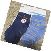 Old Navy Baby Boy's 4 Pack Baseball Non Skid Crew Socks 12-