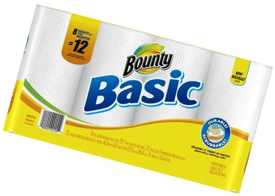 Bounty Basic Paper Towels, 11 x 10 2/5, White - 30 rolls of