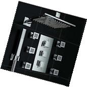 Bath Chrome Rainfall Shower Faucet Set Thermostatic Mixer