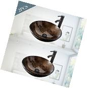 2 PC Bathroom Glass Vessel Sink Oil Rubbed Bronze Faucet Pop
