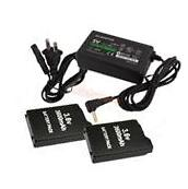 2X 3600mAh Battery Pack + AC Adapter Wall Charger Dock for