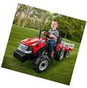 Battery Powered Tractor Ride On Toy W/Trailer Case IH Kids