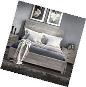 Bed Frame Queen with Headboard Platform Rustic Vintage