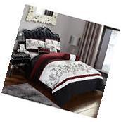 7 Piece Bedding Comforter Set Black Red King Size Jacquard