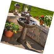 Bird Bath with Fountain Solar Powered Outdoor Lawn and
