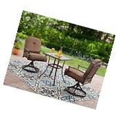 NEW Outdoor Bistro Set 3 Piece Deck Garden Swivel Chairs