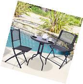 3 Pcs Bistro Set Garden Backyard Table Folding Chairs