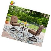 Outdoor Bistro Set 3 Piece Swivel Patio Garden Furniture