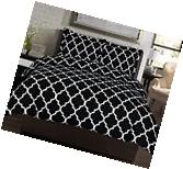 Black + White King Size 3 Piece Duvet Cover Set Bedding