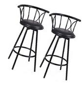 Set of 2 Black Barstools Modern Swivel Rotatable Chairs