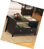Black Contemporary Espresso COFFEE TABLE w/ Storage Drawer