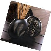 Black Feather Imprint Decorative Vase Table Accent Tribal