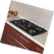 """30"""" Black Glass LPG NG Built-in Kitchen 5 Burner Oven Gas"""