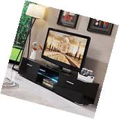 Black High Gloss TV Stand Unit Cabinet 2 Drawers Console