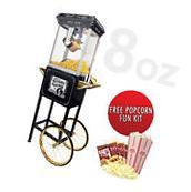 FunTime 8oz Black/Gold Popcorn Popper Machine Maker Cart +