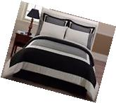 Chezmoi Collection 8pcs Black Gray Bed-in-a-Bag Comforter