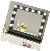 Black Hollywood Makeup Vanity Mirror with Light Dimmer Stage
