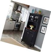 Home Styles Black Hutch Buffet With Wood Top with Two