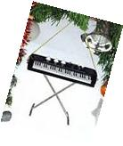 """BLACK KEYBOARD w/ STAND 3"""" MUSICAL INSTRUMENT CHRISTMAS"""